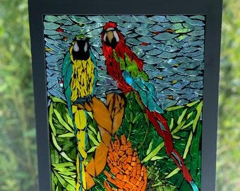 Stained Glass Mosaic Parrot Suncatcher, Parrot Suncatcher, Stained glass red headed macaw