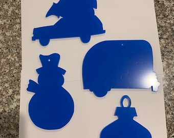 Acrylic Mosaic Cutouts for making Christmas themed Stained Glass mosaic suncatchers