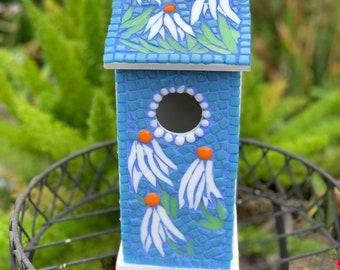 Bluebird House, Bird house, Bird watching, Unique birdhouses, gift for bird lovers, gift for gardeners, garden art yard art mosaic birdhouse