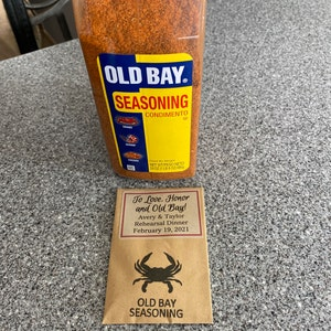 diy Old Bay Rehearsal Dinner Favors for Maryland Wedding Personalized Packets with Crab Motif To Love Honor and Old Bay
