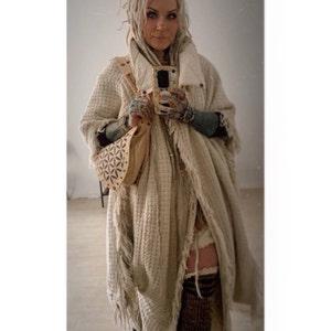 Long Kimono Wrap Dress \u2206 Fringe Sleeves Maxi Dress \u2206 Goddess Raw Dress \u2206 Organic Clothing \u2206 Raw Cotton Wedding Dress Modest  Off White