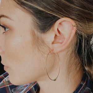 Square Edged Huggie Hoop Earrings • hoop earring • gold hoop earring • huggie hoop earrings • huggie hoop • tiny hoops • minimalist earrings photo