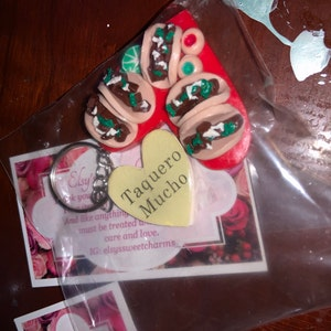 One of a kind Taquero mucho heart keychain tacos lime