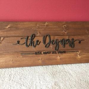 Pallet Sign / Last Name Sign / Custom Wood Sign / Established Sign /  Personalized Wedding gift / Wedding Sign / 3D Sign / Family Name Sign photo
