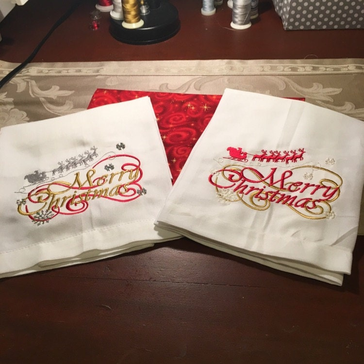 Merry Christmas Machine Embroidery Designs 5x7 Instant Download