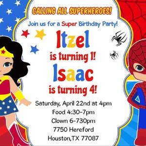 Wonder Woman and Spider-Man Invitation Wonder Woman and Spider-Man  Invitation Wonder Woman and Spiderman Party Invitation Digital File.