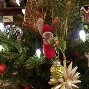 Personalized Hare Christmas Ornament Unique accent Needle Felted Custom Christmas Hare Decoration Needle Felt tree Ornament