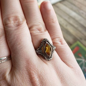 Vintage Sterling Silver Wedding Band Stacker Design Ring 7 Square Princess Rectangle Madera Golden Citrine East  West Setting Art Deco Style