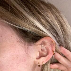 Round Huggie Hoop Earrings • dainty simple hoop earrings • cartilage hoop • gold conch hoop • small helix hoop • huggie earring  tragus hoop photo