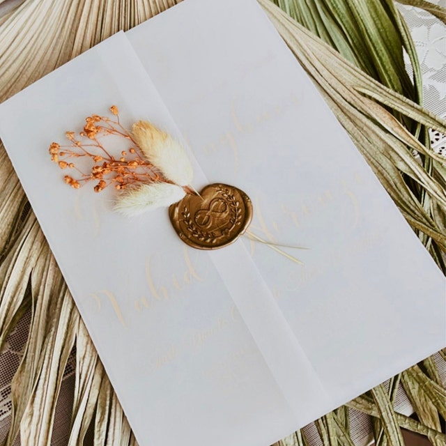 bohemian flower acrylic wedding card with vellum package and wax seal decor