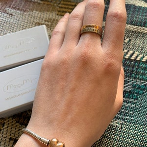 Engraved Rings for Women Personalized Rings for Women Coordinates Stacking Rings Name Ring Gold Custom Ring for Women -R4 photo