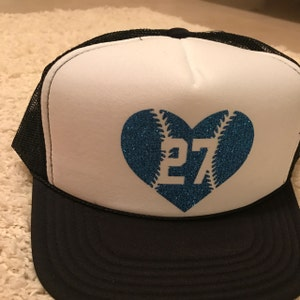45bd5858792947 She shipped it right away , so I'm excited because I'm going to get to wear  it to his first game this weekend. :) Baseball Heart Trucker Hat ...