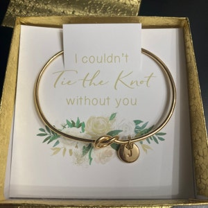 Personalized Bridesmaid Gift, Bridesmaid Proposal Bracelet, Tie the Knot Jewelry, Custom Initial Engraving Bridesmaid Bracelet, Flower Girl photo