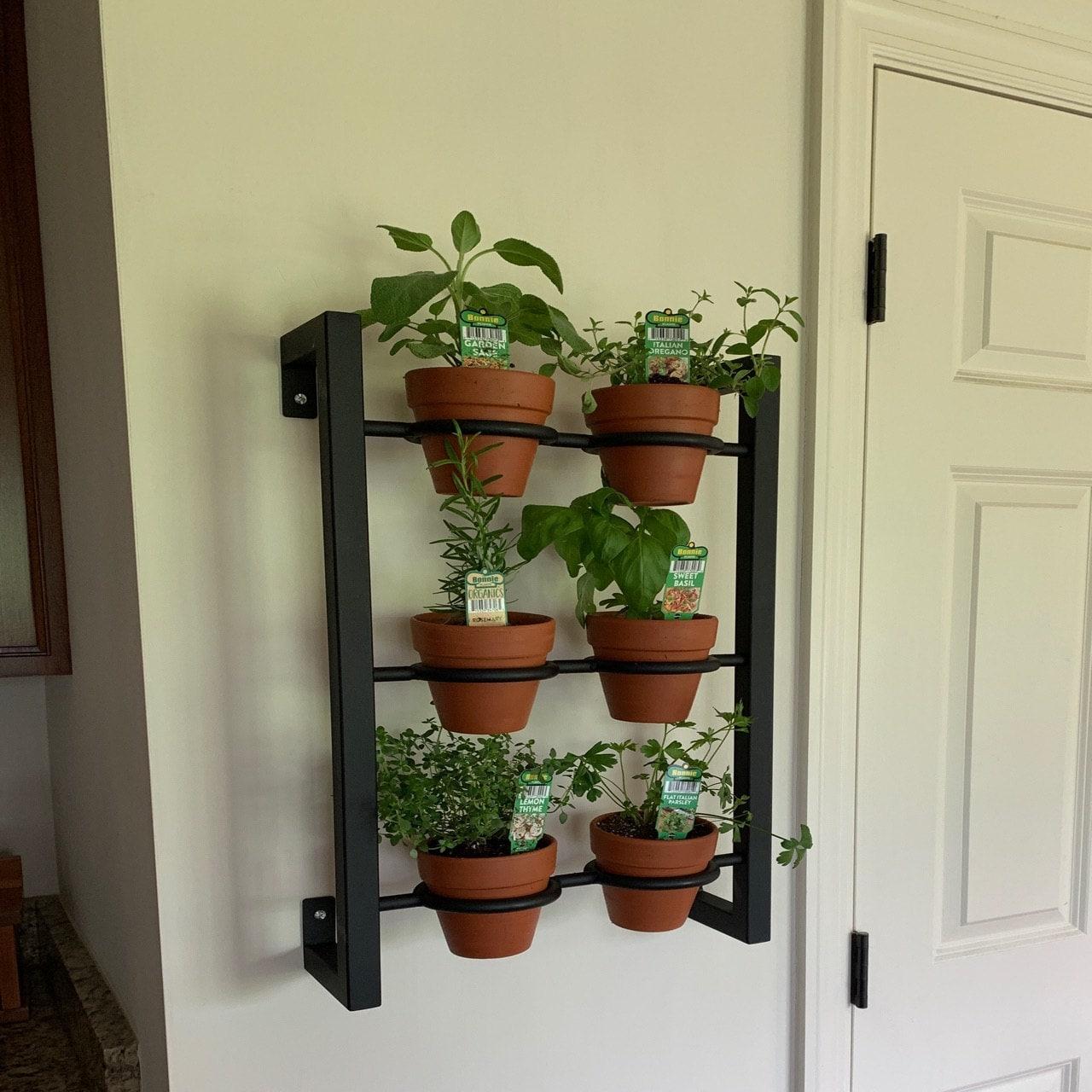 Hanging Planter Indoor Outdoor Herb Garden Hanging Herb Garden Fixer Upper Inspired Vertical 6 Pot Wall Hanging Herb Garden