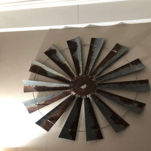 huge 60 inch metal windmill wall art large wall space decor etsy. Black Bedroom Furniture Sets. Home Design Ideas