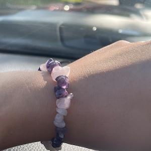 Amethyst and Rose Quartz Chip Bracelet G109 photo