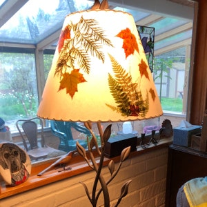 Botanical Lampshade with Blue Delphinium Real Pressed Flower