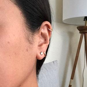 Rounded Paved Huggie Hoop Earrings • cartilage hoop • simple gold conch hoop • small helix hoop • hoop earring • huggie earring •tragus hoop photo