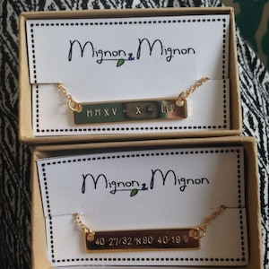 Custom Coordinate Necklace Personalized Jewelry Mom From Daughter Sister Necklace Custom Jewelry Children Necklace Gold Name Necklace - 4N photo