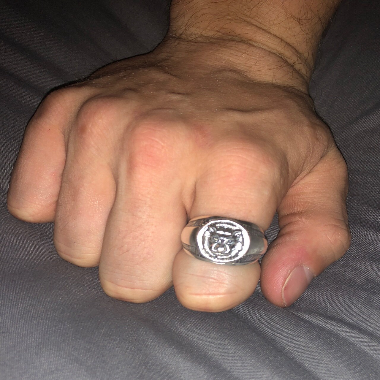 Lion Heart Men Ring Sterling Solid Silver 925