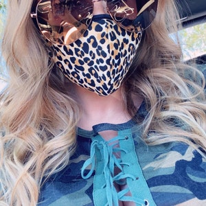 Made in USA, Leopard Face mask with nose wire, Washable, Reusable, Fast shipping, Filter pocket, Nose wire, comfy ears photo