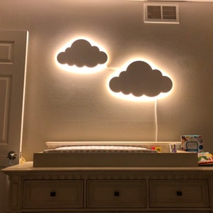 Bedside table girls bedroom night light Cloud lamp with moon Hanging wall plywood lamp Wood name lamp for children/'s room