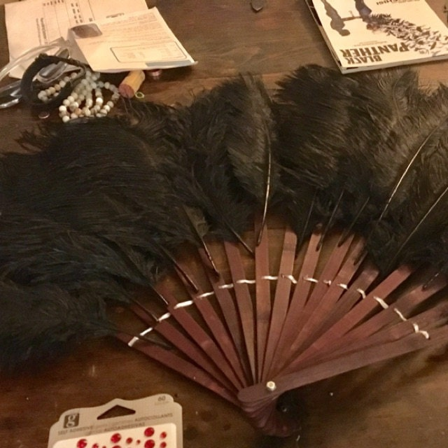 23 x 12 Brown Wood Bamboo Hand Fan Stave Costume Ostrich Feather Dance Base
