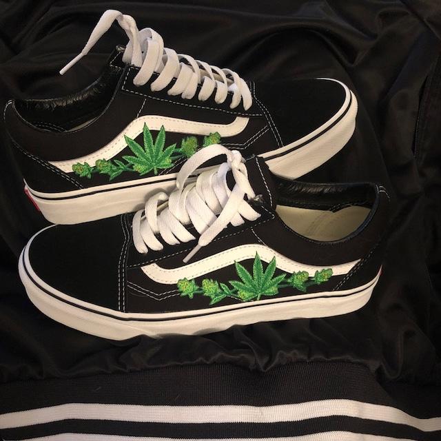Unkraut Blatt Custom bestickt Patch Vans Old Skool Sneakers