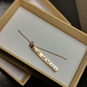 Vertical Bar Necklace with Name Necklace Rose Gold Name Necklace Pendant Necklace Custom Necklace Mothers Day Personalized - D4BN photo