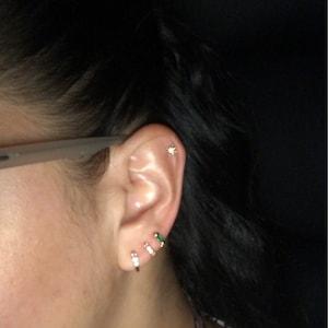 Emerald Cartilage Hoop Earrings • celestial tragus earrings • tiny hoop earrings • cartilage hoop earrings • helix hoop • small hoop earring photo