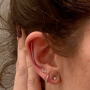 Tiny Climber Stud Earrings • CZ dainty earrings • gold studs • small stud earrings • minimalist earrings • silver stud earrings photo