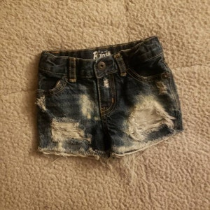 45d9ac443 Baby girl distressed Crazy 8 capri jeans 12-18m hipster   Etsy