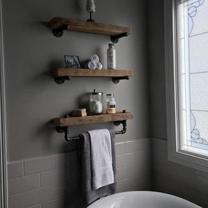 reclaimed barn wood bathroom shelves | etsy