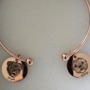 Custom Pet Portraits Dog Charm Bangle Pet Bracelet Pet Gift for Dog Mom Pet Gift Dog Remembrance Memorial Gift Pet Loss Gift- WCBR-LC-AP photo