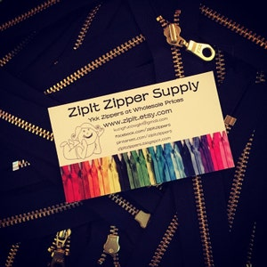 YKK Brass Gold Metal Donut Pull Zippers (5) Pieces - Black 580- Available in 4,5,6,7,8,9,10,11,12,13,14,16,18,20 and 22 Inch photo