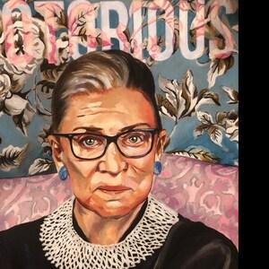 Notorious RBG - Oil Painting - Ruth Bader Ginsburg - Art Print - Feminist  Art - Floral Painting - RBG - Floral Portrait - Feminist Print