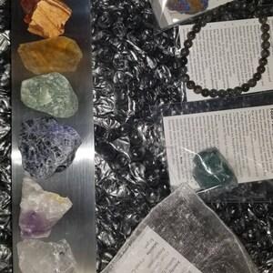 Raw crystal 7 chakra set with selenite plate - chakra set - chakra stones - chakra crystals - healing crystals and stones - seven chakras photo