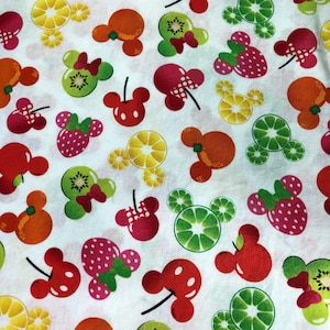 Disney Mickey and Friends Mickey Minnie Fruits White Fabric By The Yard