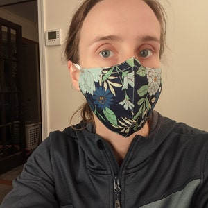 100% Cotton Face Mask with Nose Wire // Soft, Men's, Women's, Kids, Adjustable Ears Straps/Loop, Washable & Reusable, Filter Pocket photo