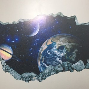 Earth Space Wall Decal Planets Galaxy 3D Smashed Wall Decor Art Sticker Kids Vinyl Mural Poster Custom Gift BL132