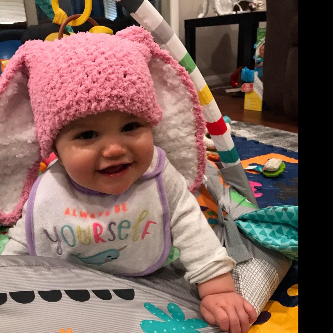CROCHET EASTER BUNNY BABY GIRLS HAT 0-2 YEAR OLD ears bonnet rabbit photo prop
