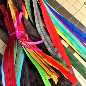Your Choice of 50 YKK Brand 10 Inch Zippers Mix and Match- Choose from 65 light, bright, dark, and neutral vibrant colors photo