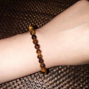 Tiger Eye 6 mm Round Stretchy String Bracelet G156 photo