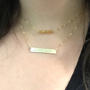 Roman Numeral Necklace Nameplate Necklace Personalized