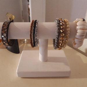 Bracelet display stand Solid wood bangle bracelet holder Handmade hair tie holder Vertical bracelet display Jewelry organizer  White color