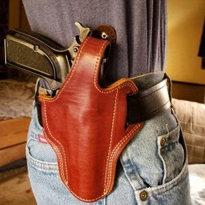 Taurus 605 357 Magnum Snub Nose Handcrafted Leather Belt Holster Tan Black  (R H)