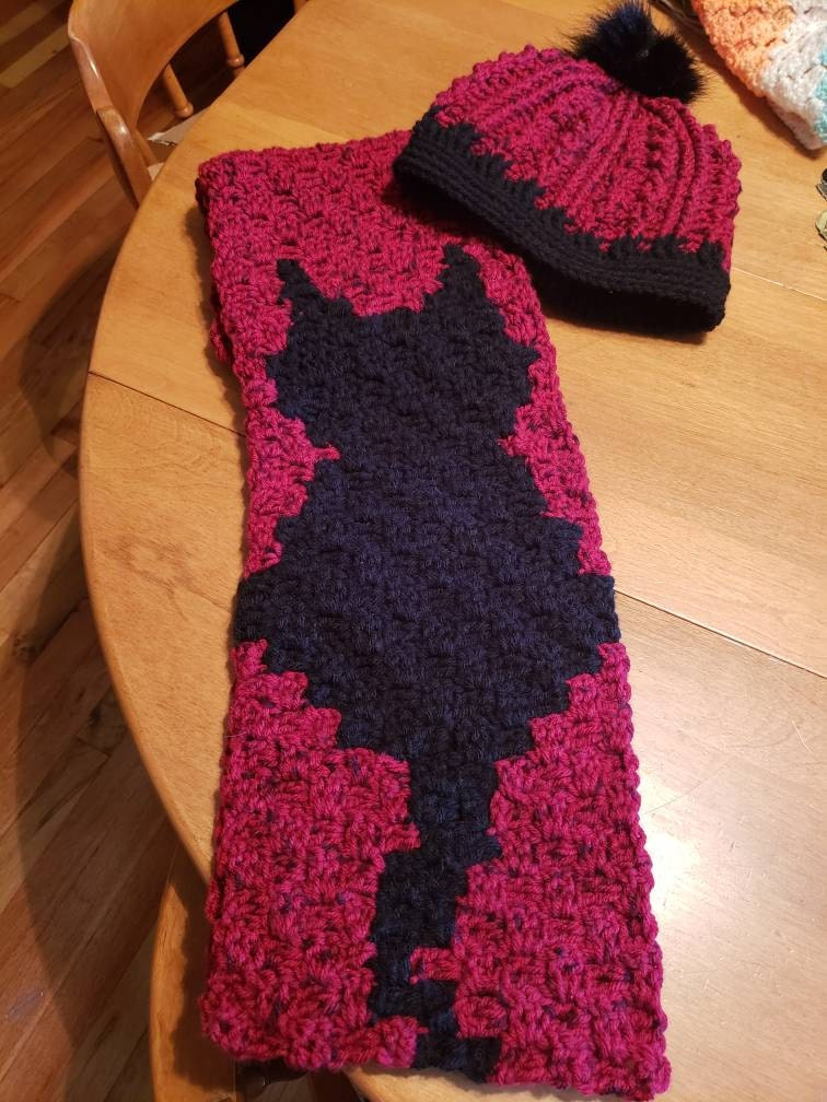 Cat Scarf, C2C Crochet Pattern, Written Row Counts, C2C