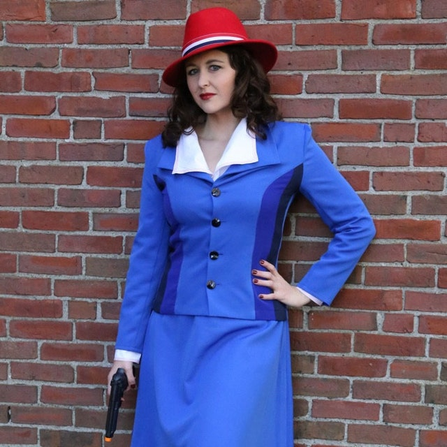 1940s Dress Styles Inspired by Peggy Carter blue costume. Agent Carter cosplay - order before 19 Oct expedited shipping $147.00 AT vintagedancer.com