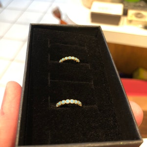 Turquoise Hoop Bezel Earrings •  turquoise small hoop earrings • gold milgrain hoop earrings • turquoise gemstone huggie hoop earrings photo