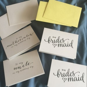 To My Bridesmaid Bridal Party Wedding Thank You Cards - Thank You Bridesmaid Card, Man of Honor, Maid of Honor, Matron, Flower Girl - CS15 photo